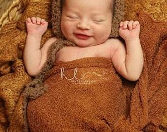 Furry Bear Hat/Bonnet/ Newborn Photo Prop/ Brown/ MADE TO ORDER