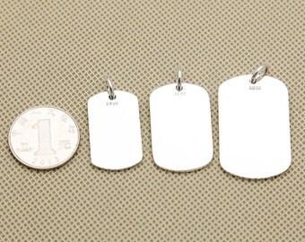 0.990 Fine Silver, 990 Sterling Silver Dog Tag, 990 Sterling Silver Blank Dog Tag, Sterling Dog Tag Charm Pendant - E289