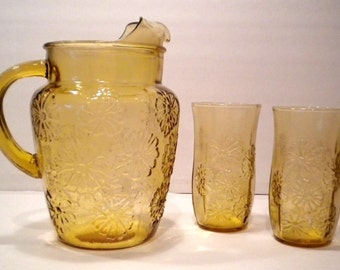 Vintage Daisy Anchor Hocking Honey Gold Amber Beverage Set Pitcher & 2 Tumblers