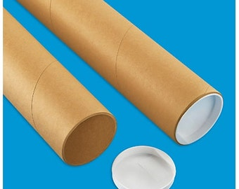 """25 - 3"""" Kraft Mailing Tubes with End Caps - Various Lengths - Shipping Supplies - FREE SHIPPING"""