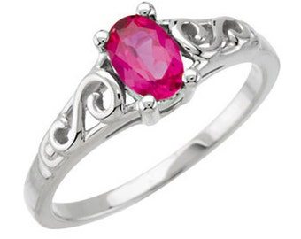 925 Sterling Silver Imitation RUBY Youth July Birthstone Ring USA 5