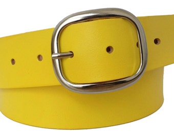 Sunny Yellow Leather Belt Strap - Full Grain Leather
