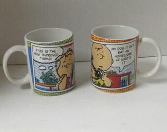 Vintage Gibson Peanuts Charlie Brown Mugs Set of 2