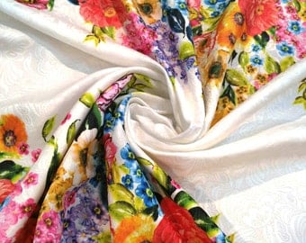 Colorful floral jacquard fabric price by by one yard #0004