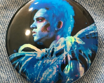 "VELVET GOLDMINE Brian Slade Todd Haynes Glam Rock star movie Jonathan Rhys Meyers Maxwell Demon holographic 2.25"" button"