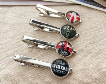 221B Baker Street Tie clip, Sherlock Holmes Tie clip, John Watson tie clips, gift for gentleman