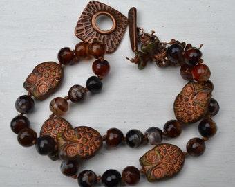 Boho copper owls and agate bracelet - DayLilyStudio