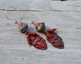 Red boho earrings - Gardenne - GraceBeads - DayLilyStudio