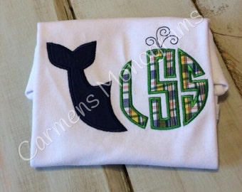 Boy or Girl Whale Applique with Appliquéd Circle Monogram on a Tshirt or Bodysuit