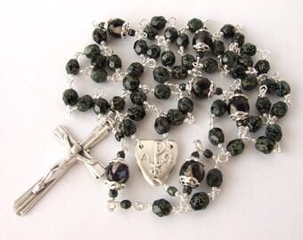 Catholic Rosary Beads - Chi Rho Centre Medal Men's Rosary Beads - Unbreakable Five Decade Black Agate Gemstone Rosary - Catholic Gift