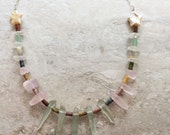 Handmade Necklace Sea glass spikes Sea glass nugget Agate White Freshwater Pearl