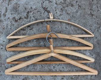 Set of 4 Soviet Vintage Wooden Cloth Hangers, Rustic Clothes Hangers Set, Made in USSR, 1960s.