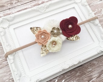 Burgundy Gold Headband, Fall Baby Headband, Fall Wedding Headband, Maroon Champagne Baby Headband, Gold Hairbows, Glitter Felt Headband