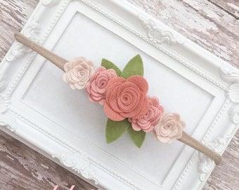 Flower Crown Headband * Vintage Headband * Rosette Headband * Rustic Wedding Headband * Felt Baby Headband Flower Girl Headband Ivory Blush