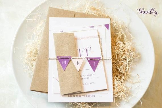 Bunting Wedding Invite: Rustic Wedding Invitation Kraft Wedding Invitation Bunting