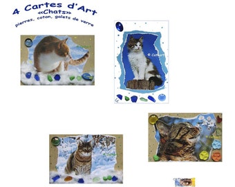 """4 cards of Art """"Cats on cotton with stones, pebbles of glass and porcelain flowers"""""""