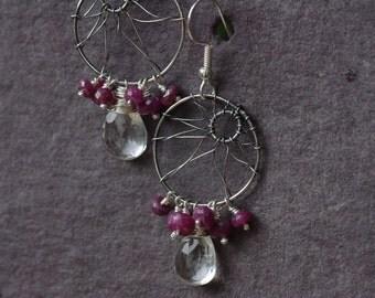 Quartz & Ruby Earrings, Asymmetrical Lotus Flower Earrings Sterling Silver Cluster Drop Earrings Ruby and Quartz Earrings July Birthstone
