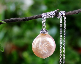 Keshi Coin Freshwater Pearls Pendant Necklace.Sterling Silver Chain.Statement.Dainty.Beadcap.Bridal.Mother's.Valentine.Gift.Handmade.