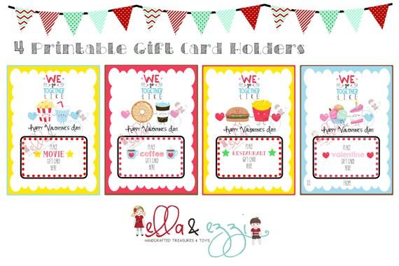 Printable Valentine Gift Card Holders, Teacher Gift, Gift Card, Instant  Download, We Go Together, Coffee Gift Card, Teacher Valentine