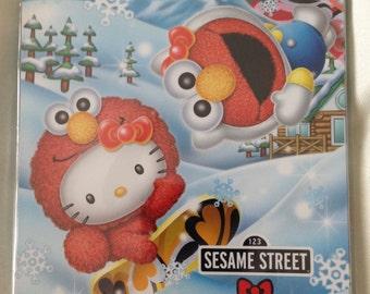 Rare Hello Kitty x Sesame Street Elmo Winter Snowboarding Japan Exclusive Memo Pad - Gotochi / Regional / Kawaii + Bonus!