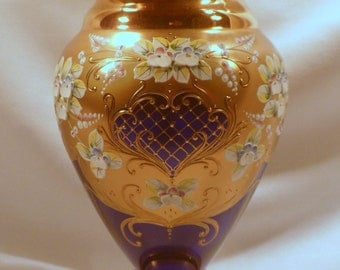Exceptional Cobalt Blue Large Glass Vase with Gold Decoration and Porcelain Flowers