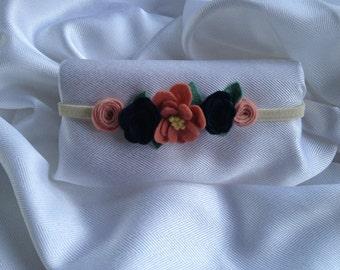 Pink and Navy Headband