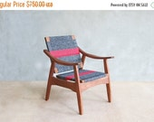 Izapa Armchair in Granito and Red Stripe with Handwoven Manila seat & back