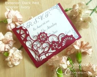 Steampunk wedding RSVP pocket card laser cut gears and hearts victorian