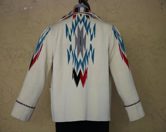 Vintage Chimayo Women's Hand Woven Southwestern Aztec Native Indian Blanket Coat Jacket Size 10