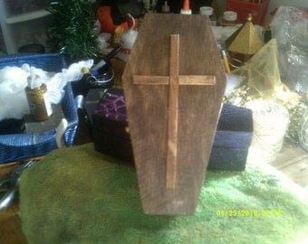 Small Wooden Coffin with Wooden Cross