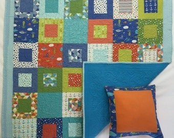 In Stock: Bartholemeow's Reef Nautical Baby Quilt with Free Pillow Case 16011