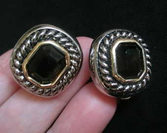 Vintage Earrings Black Onyx Square Cabochon gold tone Silvertone rope design Pierced Omega leverback high end sophisticated small 1""