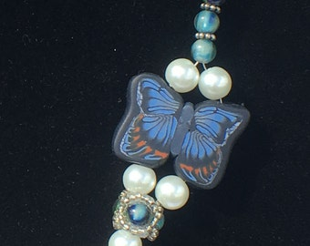 Blue Butterfly Beaded Beeswax Clay Necklace A167-703