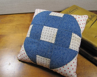 "Small Patchwork Pillow - Dollbed Pillow - 6"" Square"