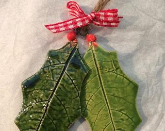 Ceramic Holly Christmas tree decoration