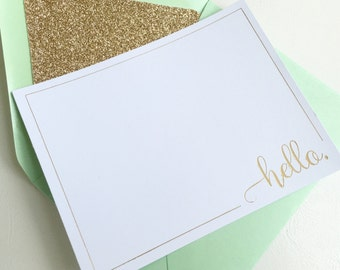 "6 Pack - Gold Foil ""Hello"" Letterpress Flat Stationary Cards"