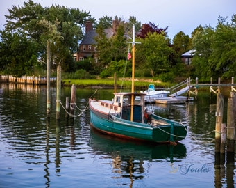 Limited Edition ~ Wickford Cove ~ Wickford, Rhode Island, Sunset, Boats, Wickford Harbor, Summer, Fine Art Canvas, New England