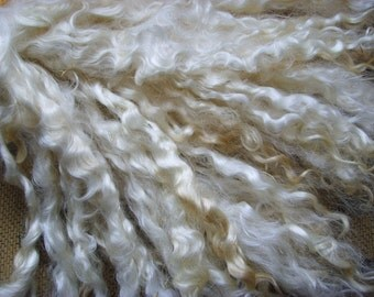 100g /3.5oz ORGANIC MOHAIR LOCKS Natural White -Angora Fleece /Raw Unwashed- Spinning Knitting Weaving - Doll Hair /20 - 25cm (7.9 -9.8 ins)