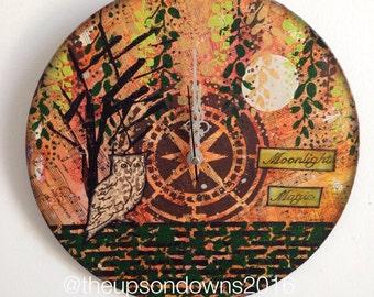 "12"" wall clock -original mixed media art on an upcycled LP"