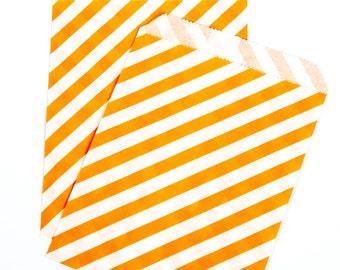 Orange Diagonal Stripe Treat Bags