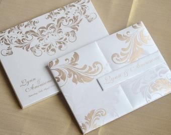 100 personalised sikh muslim hindu elegant birthday white wedding invitatons silk folio with envelope