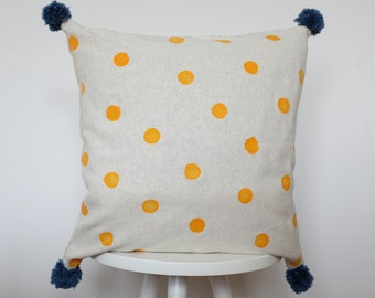 Handprinted Hemp Cushion Cover, FREE SHIPPING, Pompom Pillow From Hemp Fabric, Handprinted Cushion With Dots, Yellow Dots&Blue Pompom