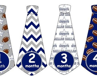 Monthly Baby Boy Football Tie Stickers Dallas Cowboys Monthly Stickers Monthly Sports Stickers UNCUT
