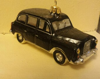 """Blown Glass London Black Taxi Cab car Glass Christmas Ornament- 4"""" made in Poland"""