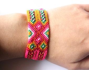 Mazahua embroidered bracelet - pink, green & yellow