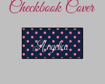 Checkbook Cover Pink Polka Dot Monogrammed Personalized