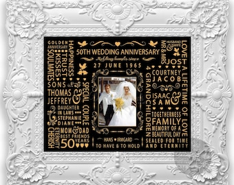 50th Wedding Anniversary Gift for Mom and Dad, Parents, Grandparents, Printable, Black and Gold, Golden, Personalised Word Art, DIGITAL File
