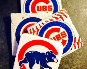 Chicago Cubs Coasters ~  Set of 4 Stone Coasters ~Tile Coasters ~ Natural Stone Tile Coasters ~ Baseball Coasters ~