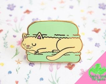 Sleeping Macaron Cat enamel pin, cat enamel pin, cat lapel pin, macaron pin, macaron lapel pin, macaron enamel pin, cat brooch