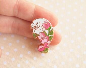 Floral Manatee Pin, manatee enamel pin, floral enamel pin, tattoo pin, manatee lapel pin, kawaii pin, lapel pin, aquatic pin, animal pin